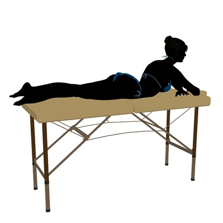 Woman on top of a massage table on a white background Stock Photo