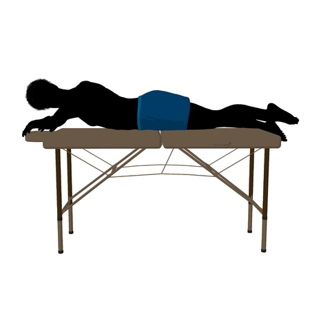 African american man on top of a massage table on a white background Фото со стока