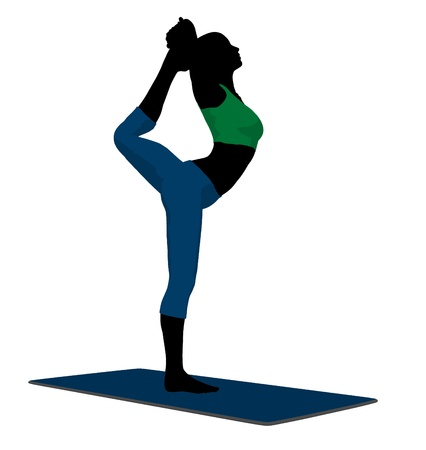 Female yoga art illustration silhouette on a white background Stock Photo