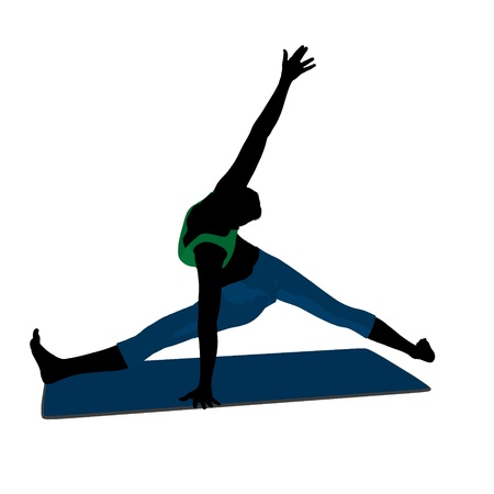 Female yoga art illustration silhouette on a white background 스톡 콘텐츠