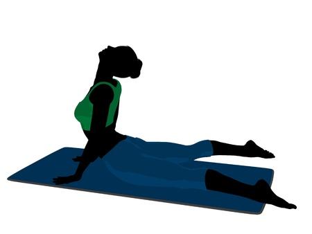 silhoette: Female yoga art illustration silhouette on a white background Stock Photo