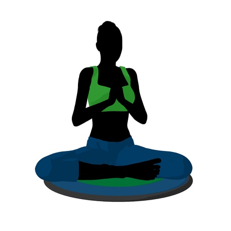 Female yoga art illustration silhouette on a white background Banco de Imagens