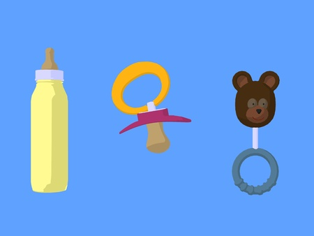 Baby toys on a blue background Stock Photo - 10459244