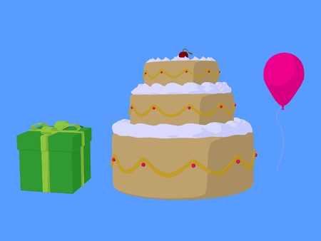 Cake, balloon and gift on a blue background