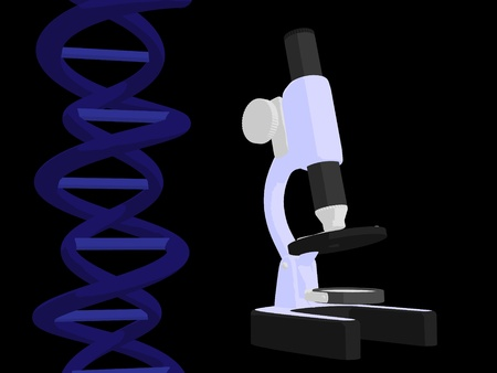 Blue dna and stethoscope on a black background