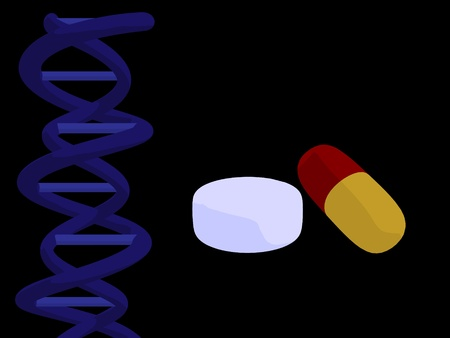 nucleic: Blue dna and pills on a black background