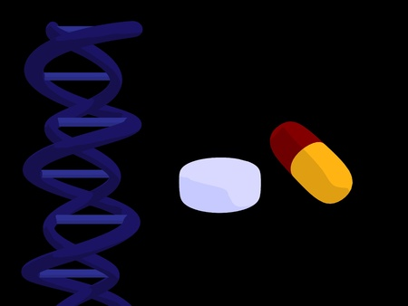Blue dna and pills on a black background