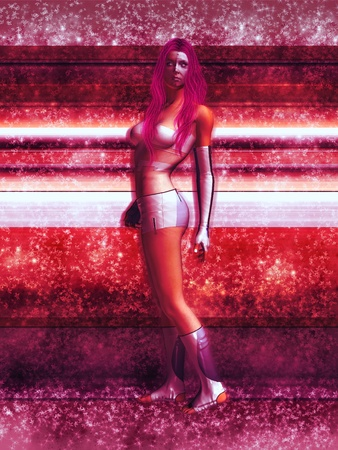 fatale:  cyborg woman standing by metallic wall Stock Photo