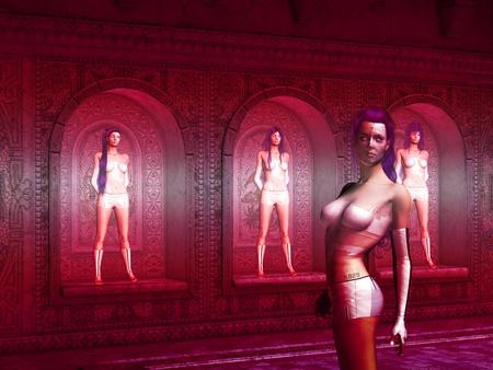 femme fatale:  cyborg women standing against the wall in hibernation