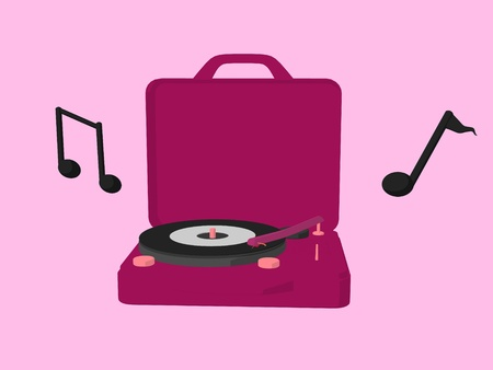 Record player with musical notes on a pink background photo