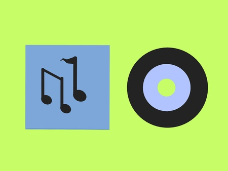 Music notes and a records on a green background photo