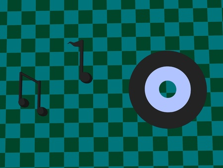 music notes and record on a checkered background photo