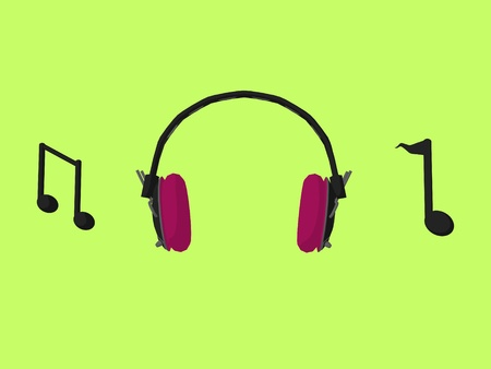 Music notes and headphones on a green background photo