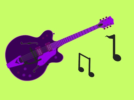 Music notes and a guitar on a green background photo