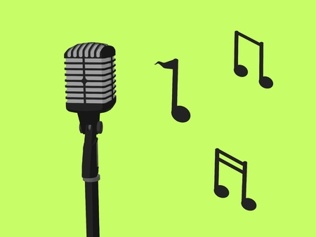 Music notes and a microphone a green background photo