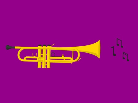 Music notes and a trumphet a purple background