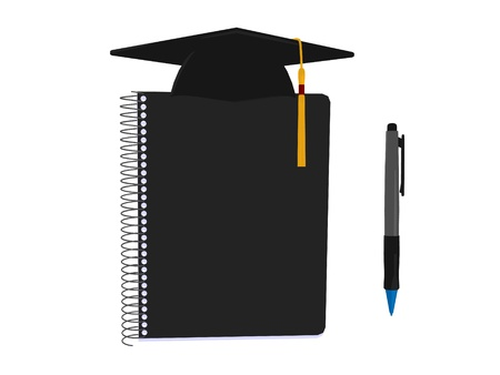 Graduation cap on an white background photo