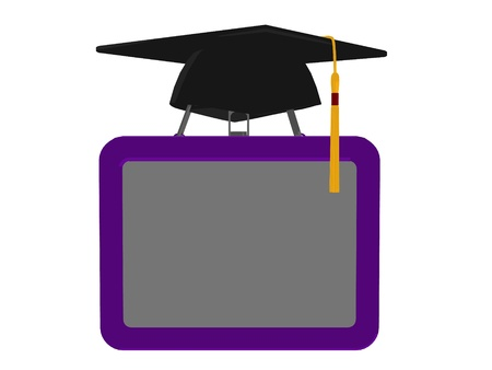 kindergarden: Graduation cap on top of a lunchbox on an white background