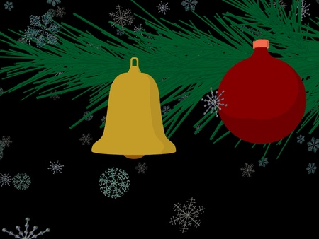 Christmas ornament and christmas bell on a black background