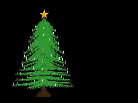 christmas celebration: Christmas tree on a black background Stock Photo