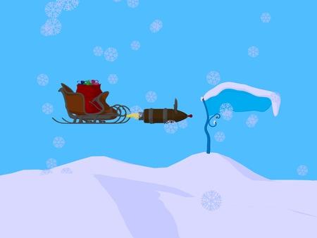 Christmas sled on a blue background photo