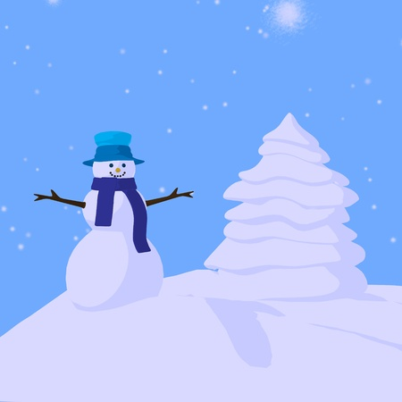 Christmas snowman on a blue background photo