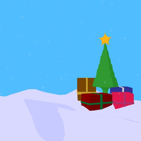Christmas tree with presents on a blue background photo