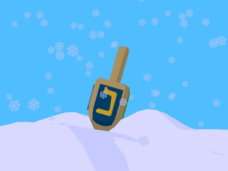 Dreidel with snowflakes on a blue background