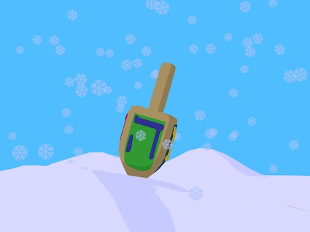 Dreidel with snowflakes on a blue background photo