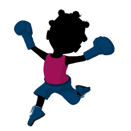 Little african american boxer girl on a white background