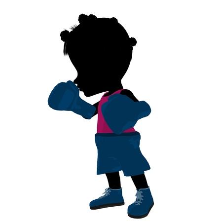 Bambina africano pugile americano su sfondo bianco Archivio Fotografico - 11573240