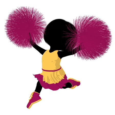 squad: Little cheer girl on a white background