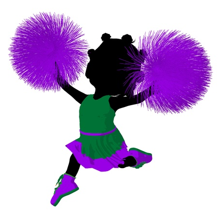 pep: Little african american cheer girl on a white background Stock Photo