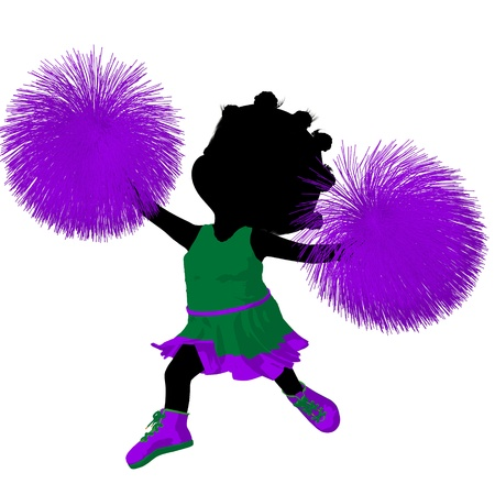 Little african american cheer girl on a white background Stock Photo - 11573265