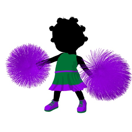 adolescent african american: Little african american cheer girl on a white background Stock Photo