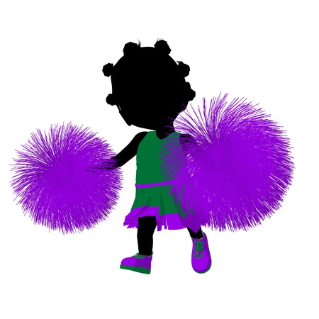 Little african american cheer girl on a white background Stock Photo - 11573262