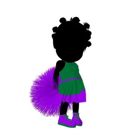 Little african american cheer girl on a white background photo