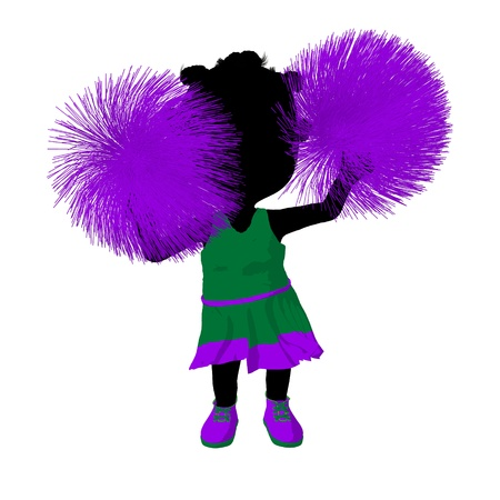 Little african american cheer girl on a white background Stock Photo - 11573261