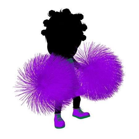 Little african american cheer girl on a white background Stock Photo - 11573266