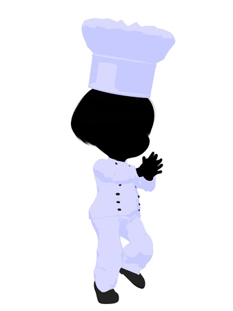 Little chef girl on a white background Stock Photo