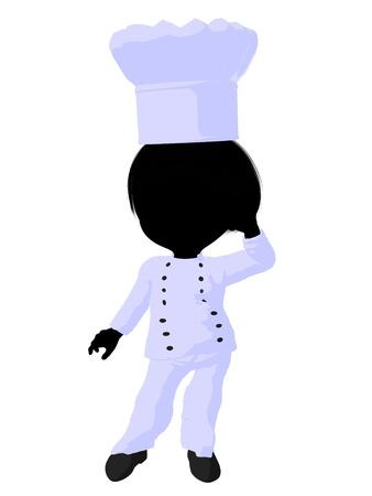 Little chef girl on a white background Reklamní fotografie