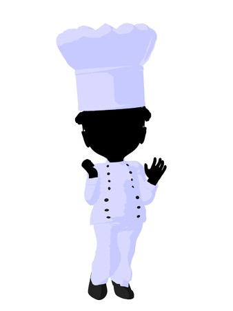 Little african american chef girl on a white background