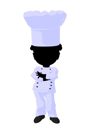 Little african american chef girl on a white background photo