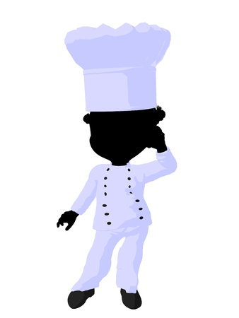 little chef: Little african american chef girl on a white background