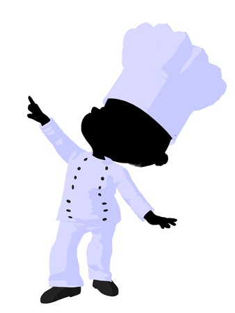female chef: Little african american chef girl on a white background