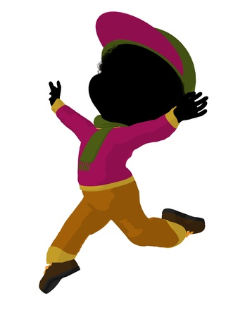 children silhouettes: Little african american outdoor girl on a white background Stock Photo