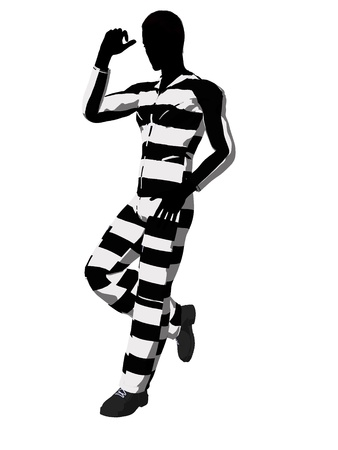 delinquent: Male criminal on a white background