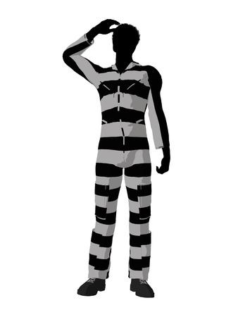 African American mannelijke crimineel op een witte achtergrond