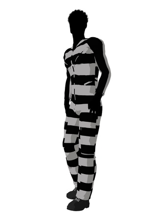 criminal: African american male criminal on a white background