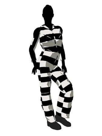 criminal: Female criminal on a white background
